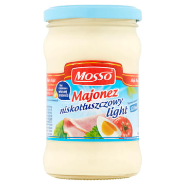 Majonez niskotłuszczowy 320 ml – Mosso Light. Polecany osobom dbającym o linię.