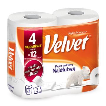 Papier toaletowy - Velvet Classic. Najwyższa jakość, wytrzymałość i wydajność zawarta w 4 rolkach.