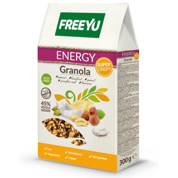 FREEYU Granola z kokosem, orzechami, dynią i bananem ENERGY 300g