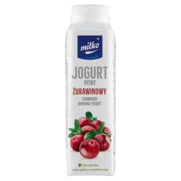 Jogurt pitny żurawinowy-Milko to apetyczne połączenie mleka i żurawiny.