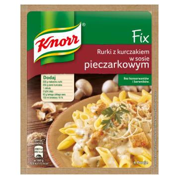 KNORR FIX Rurki z kurczakiem w sosie pieczarkowym 33g. Szybki pomysł na rodzinny obiad.