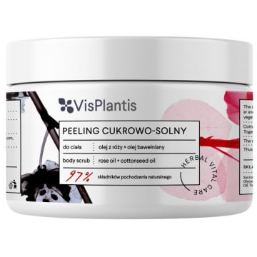VIS PLANTIS Peeling cukrowo - solny Olej z róży + Olej bawełniany 200ml