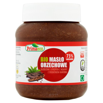 PRIMAECO Masło orzechowe słodzone syropem z agawy z dodatkiem karobu BIO 340g