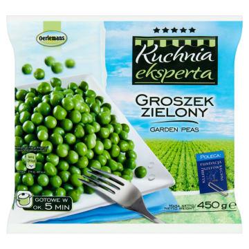 Mrożony groszek zielony, 450 g – Oerlemans. Bogate źródło fosforu, wapnia, żelaza i potasu.