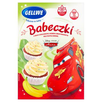 GELLWE Disney Babeczki Auta o smaku czekoladowym z kremem bananowym 234g