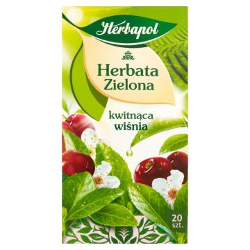 Herbapol - Herbata zielona Kwitnąca Wiśnia 20 torebek. Pozytywna energia każdego dnia.