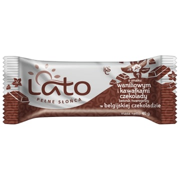 LATO PEŁNE SŁOŃCA Baton twarogowy Belgijska czekolada z wanilią i czekoladą 40g