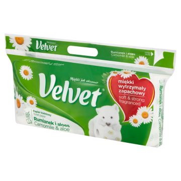 Papier toaletowy z rumiankiem - Velvet. Synonim najwyższej jakości produktów higienicznych.