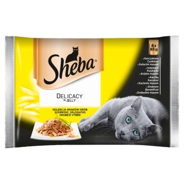 SHEBA Delicacy in Jelly Pokarm dla Kotów - Smaki Drobiowe (4 saszetki) 340g