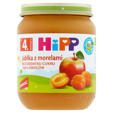 HIPP BIO Jabłka z morelami po 4 miesiącu 125g