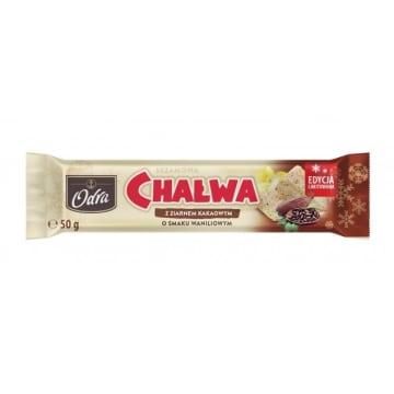 ODRA Chałwa sezamowa o smaku waniliowym z ziarnem kakaowym 50g