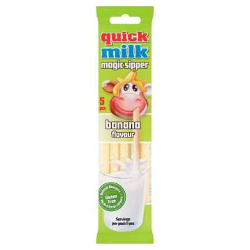 QUICK MILK Rurki do picia mleka bananowe 5szt. 30g