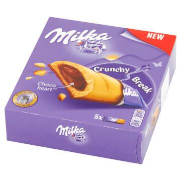 MILKA Crunchy Break Ciastka z nadzieniem orzechowym i czekoladą mleczną 5 szt. 130g