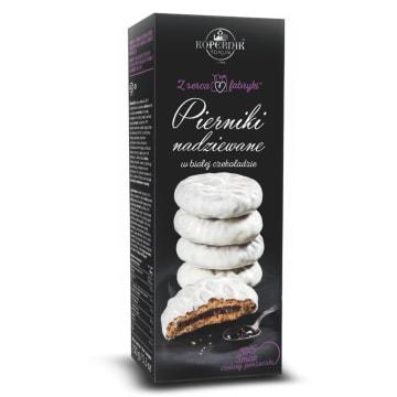 KOPERNIK Z serca fabryki Pierniki nadziewane w białej czekoladzie smak czarnej porzeczki 150g