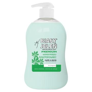Hipoalergiczne mydło w płynie z kasztanowcem – Biały jeleń nawilża i regeneruje wrażliwą skórę.