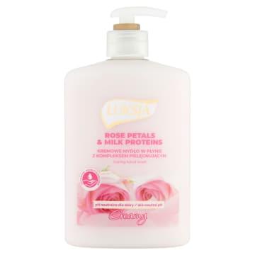 Mydło w płynie Płatki Róży&Proteiny mleka - Luksja Creamy. Kremowe mydło o pięknym zapachu.