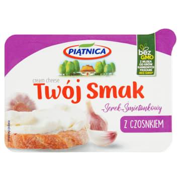 Twój Smak Serek z czosnkiem PIĄTNICA 135g - śmietankowy serek, z polskim czosnkiem.