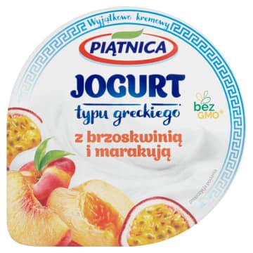 Jogurt grecki 0%-Piątnica. Kremowy jogurt z dodatkiem brzoskwini i marakuji.