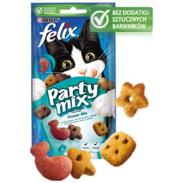 Przekąska dla kotów Ocean Mix - Purina Felix Party Mix. Pyszna, zdrowa i pożywna.