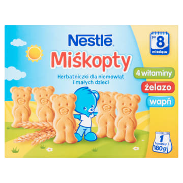 Herbatniczki dla niemowląt Miśkopty – Nestle to przekąska dla dzieci po 9. miesiącu życia.