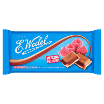 Wedel - czekolada mleczna z nadzieniem malinowym to prawdziwa, owocowa uczta smaków.