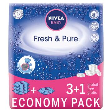 Chusteczki Pure&Fresh - Nivea Baby. Nasączone nawilżającym balsamem - mix wody i wyciągu z aloesu.