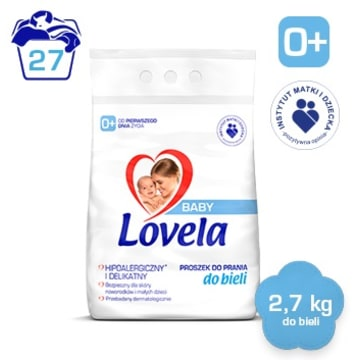 LOVELA Baby Hipoalergiczny proszek do prania bia³ego dla dzieci (27 prañ)