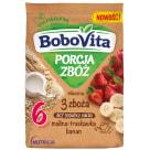 BOBOVITA Porcja Zbóż Kaszka mleczna 3 zboża malina-truskawka-banan od 6 miesiąca 210g