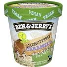 BEN&JERRY'S Beznabiałowe, wegańskie lody o smaku kokosowym z karmelem i cukierkami o smaku czekoladowym. 465ml