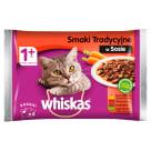 WHISKAS 1+ Pokarm dla Kotów - Smaki Tradycyjne w Sosie (4 saszetki) 400g