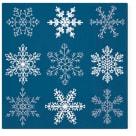 TETE Á TETE Serwetki dekoracyjne BIG SNOWFLAKES DARK BLUE 33x33cm 20 szt. 1szt