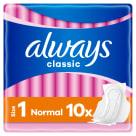 ALWAYS Classic Normal Sensitive Podpaski ze skrzydełkami 10szt 1szt