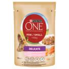 PURINA ONE Mini Delicate Karma dla psów z łososiem ryżem i marchewką w sosie 100g