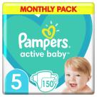 PAMPERS Active Baby Pieluchy Rozmiar 5 (11-16kg) 150 szt . Zapas na miesiąc 1szt