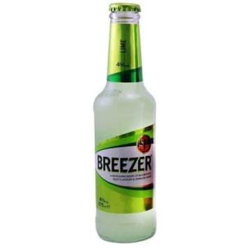 Napój alkoholowy limonkowy - Bacardi Breezer. Słodki, gazowany drink o 4% zawartości alkoholu.
