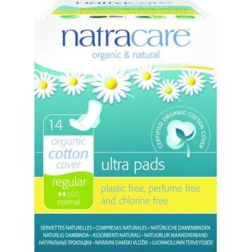 Podpaski ze skrzydełkami - Natracare ppokryte są warstwą ekologicznej bawełny.