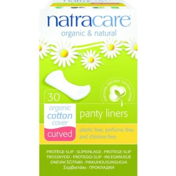 Zaokrąglone wkładki higieniczne – Natracare to ekologiczny produkt z powłoką z delikatnej bawełny.