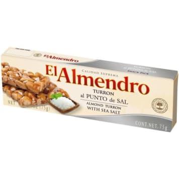 Słodki Turron z migdałami i solą morską - El Almendro. To pyszna hiszpańska przekąska.
