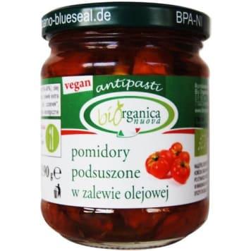 Suszone pomidory w oleju – Biorganica Nuova to doskonały dodatek do dań kuchni śródziemnomorskiej.