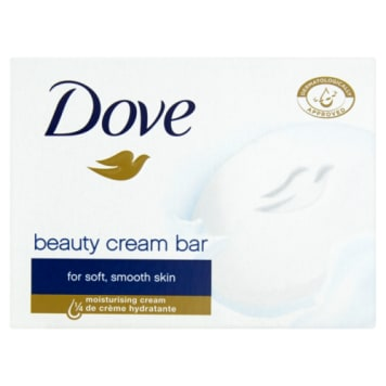 Mydło w kostce - Dove. Wyróżnia je zawartość kremu nawilżającego.