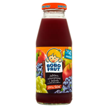 Bobo Frut - Sok jabłko, winogrona i jagody - Po 4 msc-u. Zdrowy i pyszny namój dla najmłodszych.