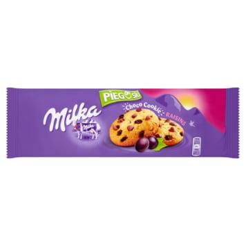 Pieguski z czekoladą i rodzynkami-Milka. Połączenie kruchego ciastka, kawałków czekolady i rodzynek.