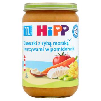 Hipp – Kluseczki z rybą i warzywami w pomidorach to posiłek dla dzieci powyżej 12. miesiąca życia.
