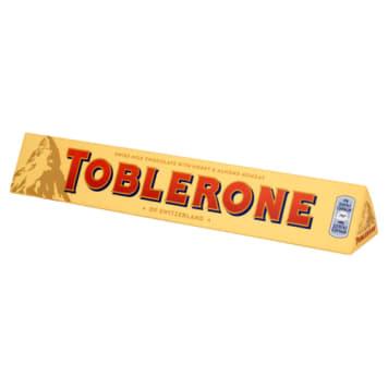 Czekolada mleczna - Toblerone o wyjatkowym kształcie i smaku miodowo-nougatowym.