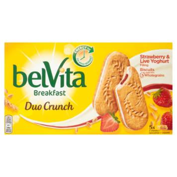 Ciastka zbożowe - Belvita. Ciasteczka z nadzieniem truskawkowo-jogurtowym.