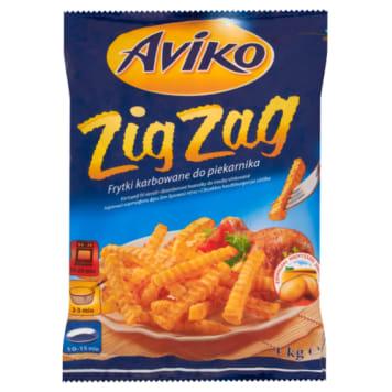 Frytki karbowane mrożone - Aviko. Są chrupiące i pyszne. Wystarczy podsmażyć.