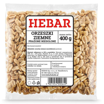 HEBAR Orzeszki ziemne prażone niesolone 400g