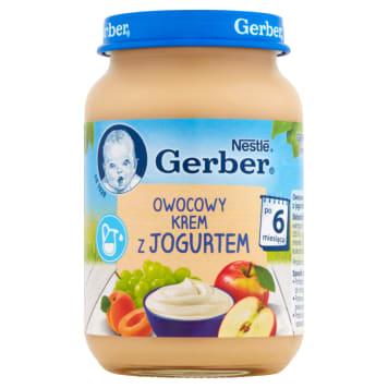 Gerber Deserek Owocowy krem z jogurtem po 6 miesiącu to zbilansowany deser jabłkowo- morelowy.