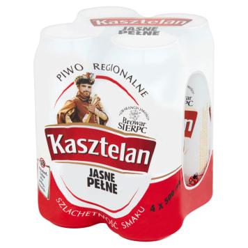 Kasztelan-Jasne pełne piwo w puszce 4x500 ml. Zachwyca piekną barwą.