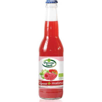 Lemoniada malinowo-agrestowa OWOCOWE SMAKI BIO 330ml - z cukrem trzcinowym i ekologicznymi owocami.